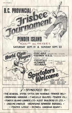 Poster for the 1985 Frisbee Tournament