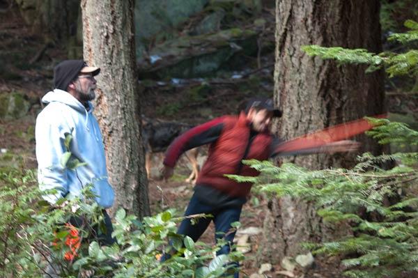 Jay shooting around trees on #14