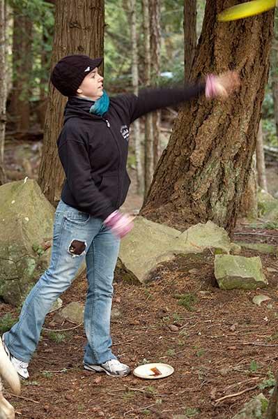 Danica doing an overhand hammer throw